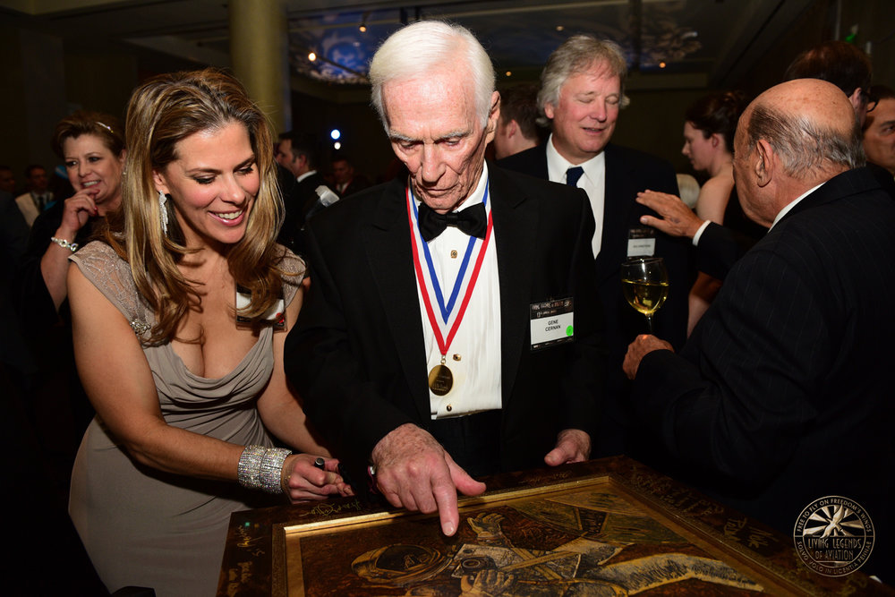 "Michelle Rouch, left, and astronaut Gene Cernan discuss ""The Spacewalk from Hell"" at the 13th Annual Living Legends of Aviation in Beverly Hills.  Courtesy of Michelle Rouch"