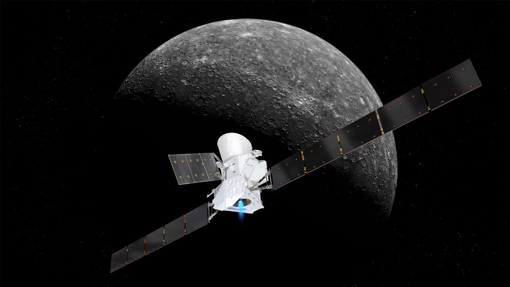 Artist's rendering of BepiColombo approaching boring planet Mercury. Credit: ESA/ATG medialab/NASA/JPL