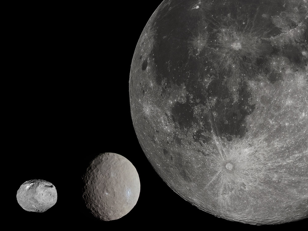 A size comparison of Vesta (left), Ceres (middle), and Earth's moon (right). Credit:  Wikipedia