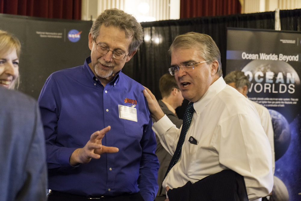 Congressman John Culberson (right) talks with NASA chief scientist Jim Green (who somehow makes his second appearance in this article) during a NASA Science Day on Capitol Hill in 2016. Credit: NASA Science Communications Support Office
