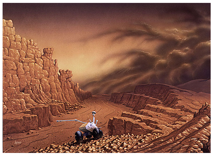 Grabben on Mars  (1988) This work was informed by Hardy's landscape study in Iceland. © David A. Hardy
