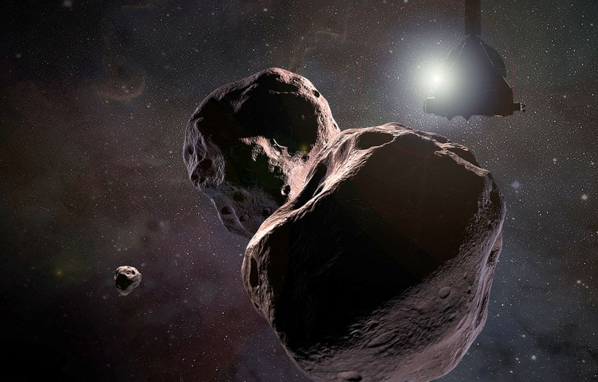Artist's concept of New Horizons (looking rather shadowy) passing Ultima Thule. NASA / JHU-APL / SwRI / S. Gribben