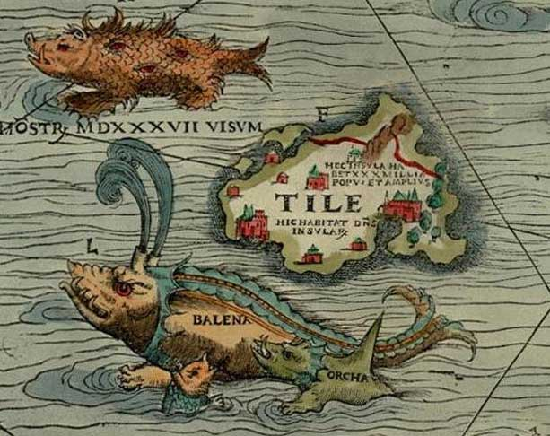 """A section from the Carta Marina (1539), an early Nordic map, by Olaus Magnus. Thule is shown on the map as """"Tile,"""" near a whale and — naturally — a sea monster. Wikipedia"""