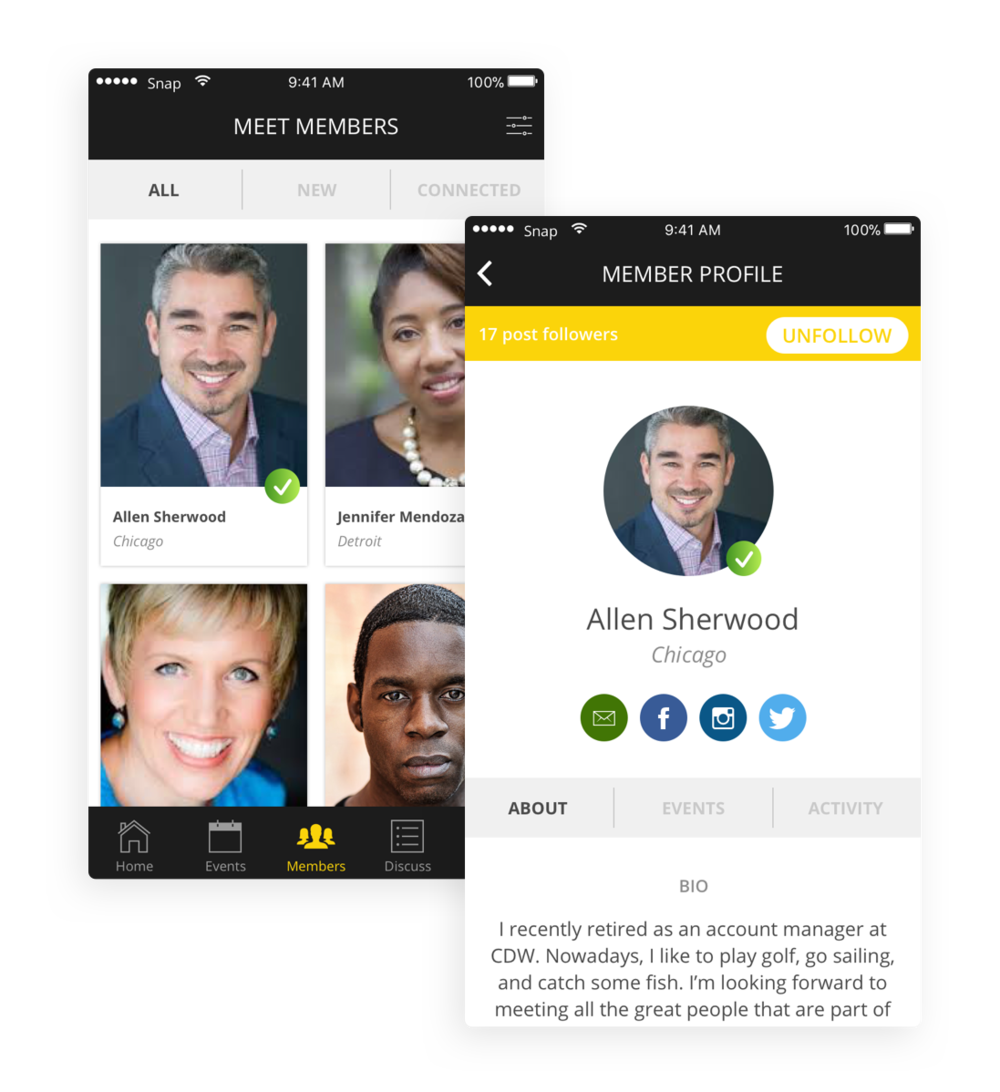 Meet other members - Members can meet other people who live in the same city or have similar interests. They can also meet at the networking events and then connect with each other through the app.