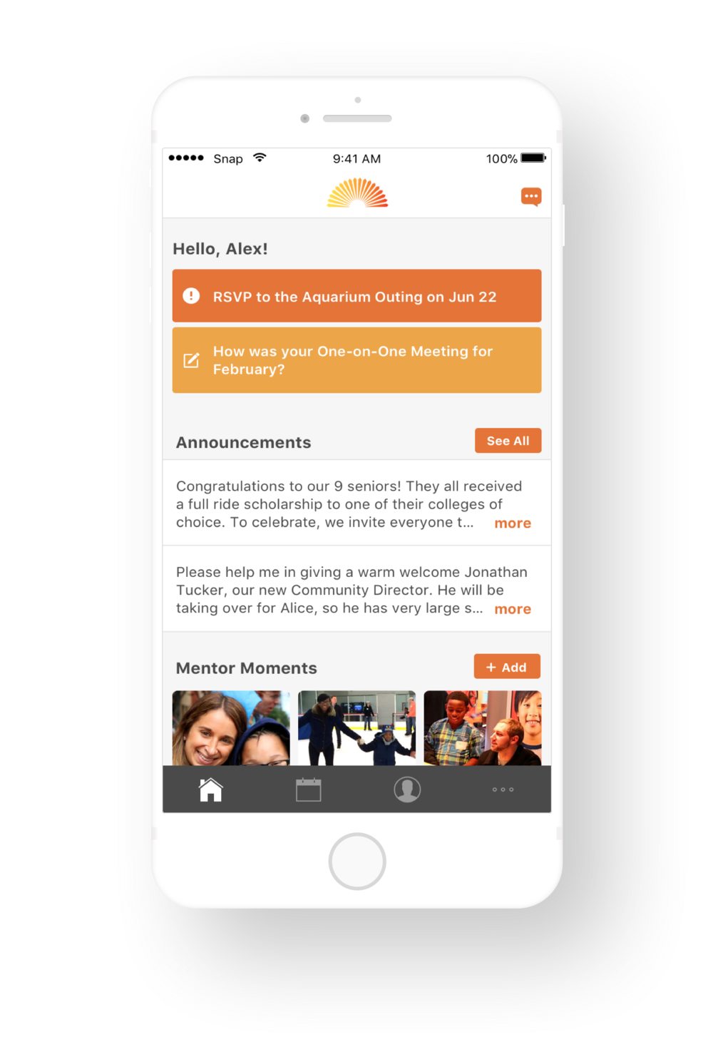 The mentor home screen features important alerts, program announcements, and a timeline of photos uploaded by mentors. -