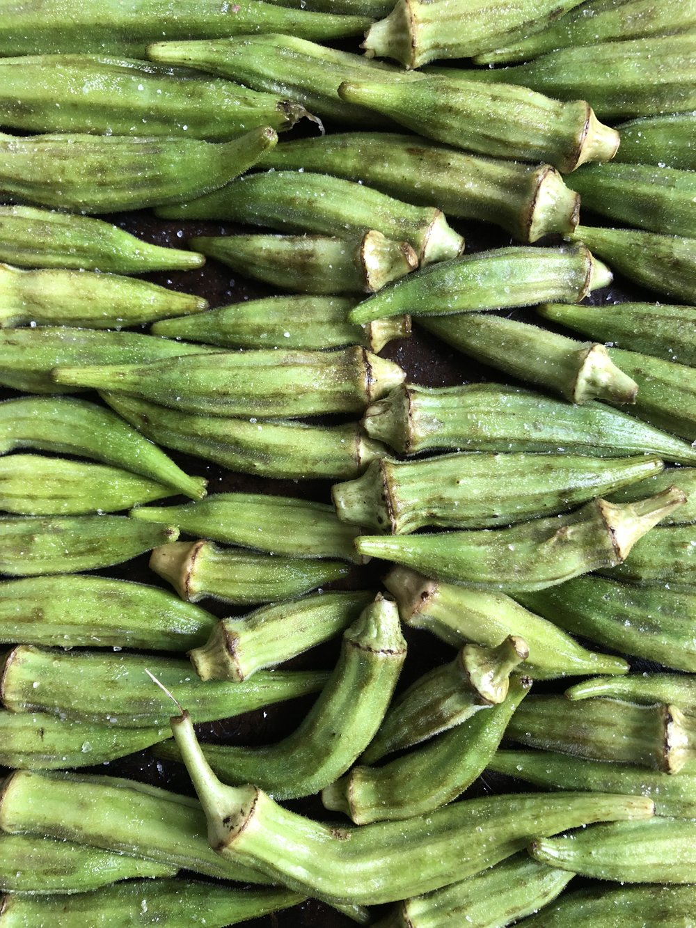 Okra ready for the oven