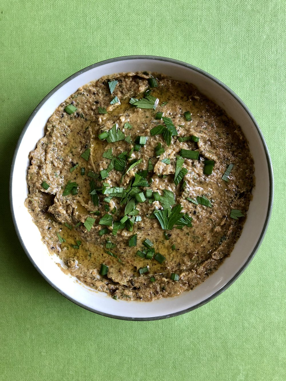 Baba ganouj with a drizzle of olive oil and sprinkle of herbs to serve. Photo by Heather Cross