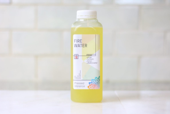 Fire Water - The best way to kick-start your morning. It's refreshing and not too heavy, it's not spicy or sugary, but has a tiny kick in the back of your throat from the bit of ginger. This product helps reduce inflammation and is great for a post-workout hydration option.