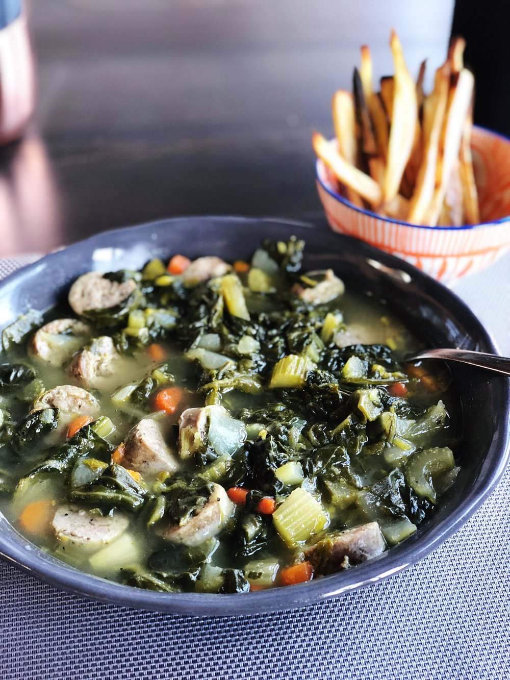 almonds and asana turkey sausage collard green soup two.JPG