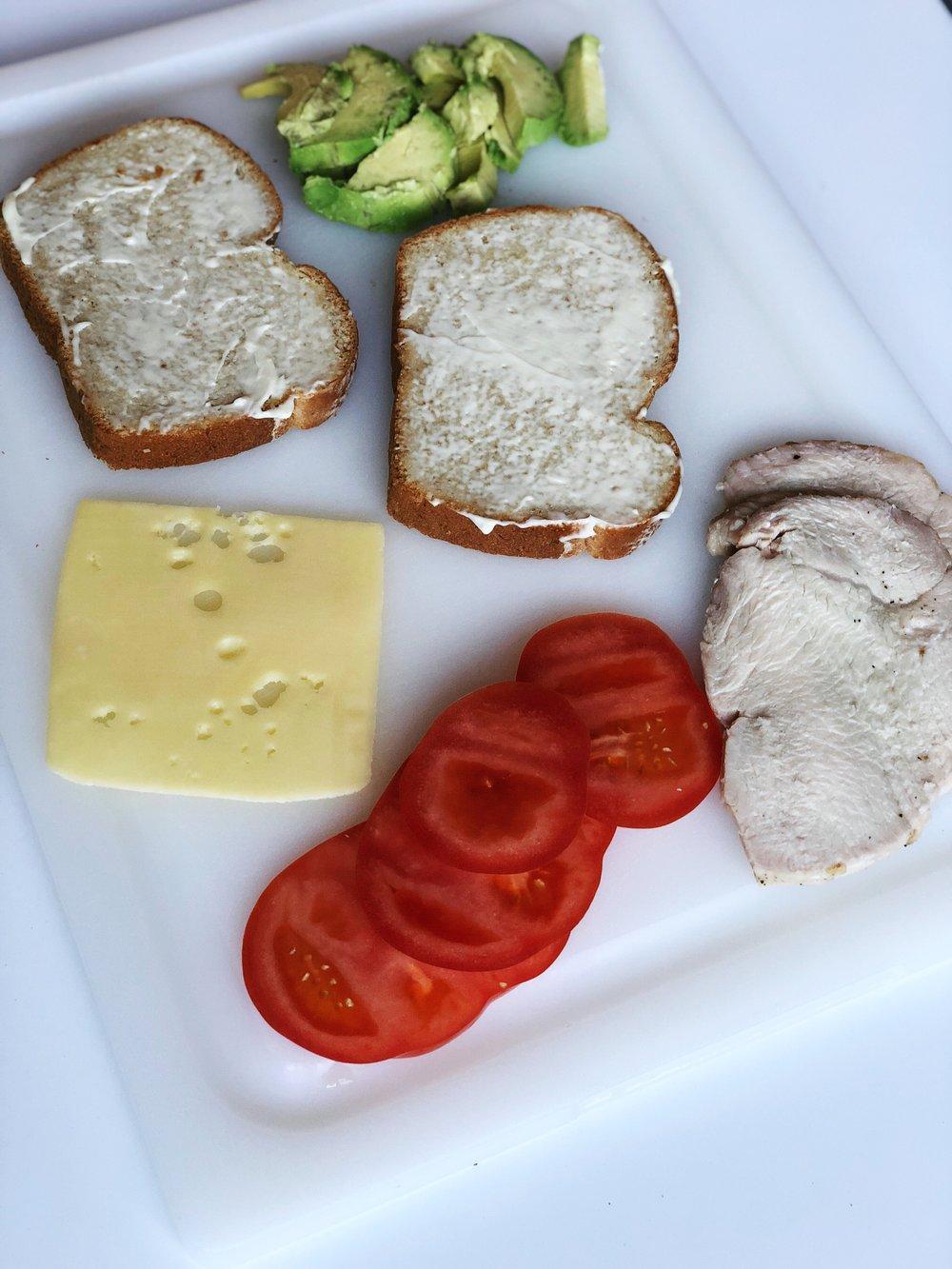 almonds and asana turkey sandwich layflat.JPG