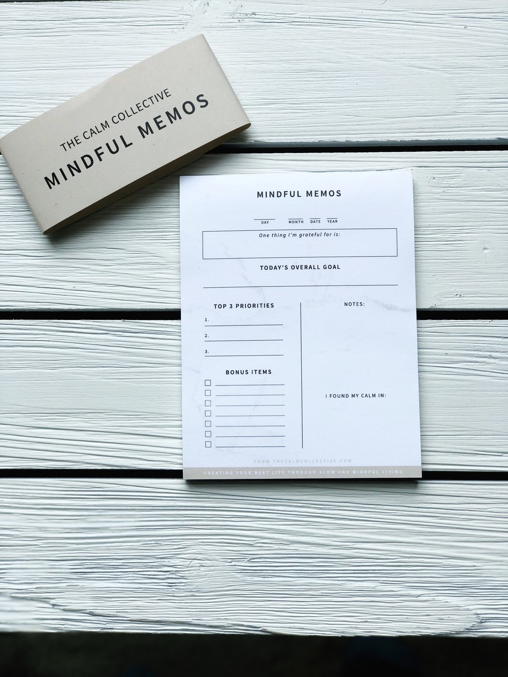 calm collective mindful memo notepad