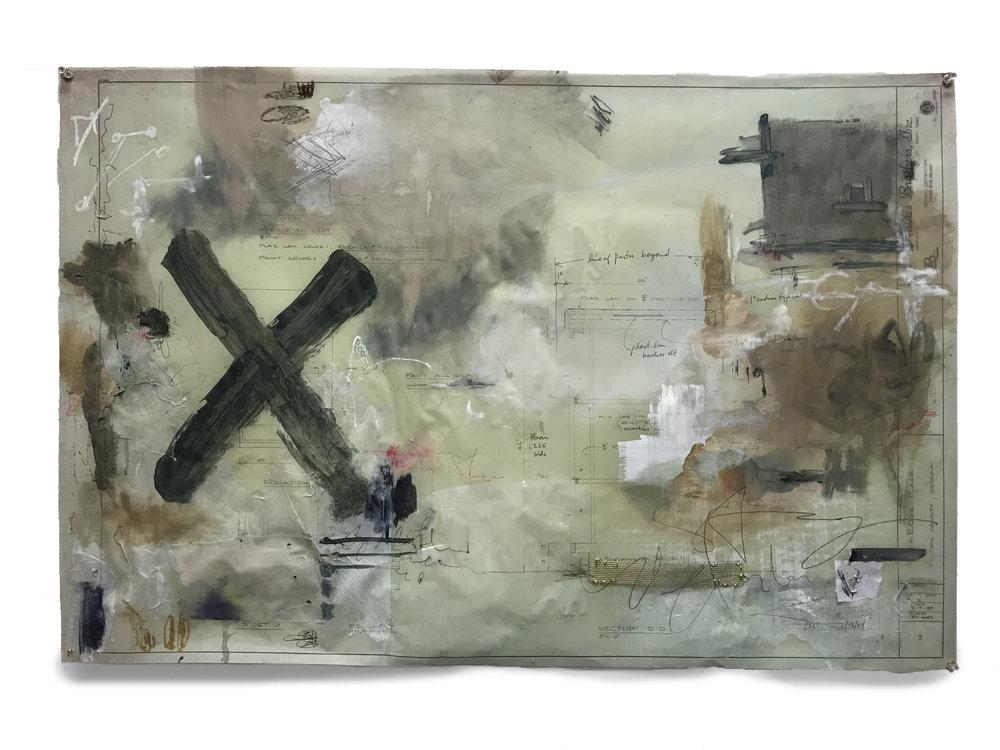 """Treasure"" || Mixed Media on Original Blueprint || 24""x36"""