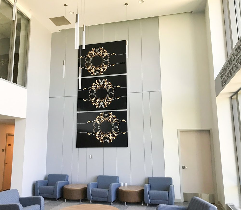 Commissioned Triptych 12 x 6 feet   Installed in New England Institute of Technology's new 2018 Dormitory. Hidden love note: converge  Based on Illuminate 5