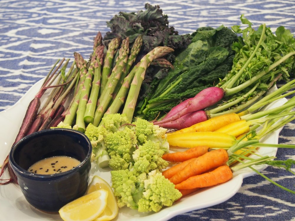 SPRINGTIME CRUDITÉ - ASIAN STYLE, OF COURSE   Say goodbye to boring crudité and store bought ranch dressing. After this dip, you'll be transformed.