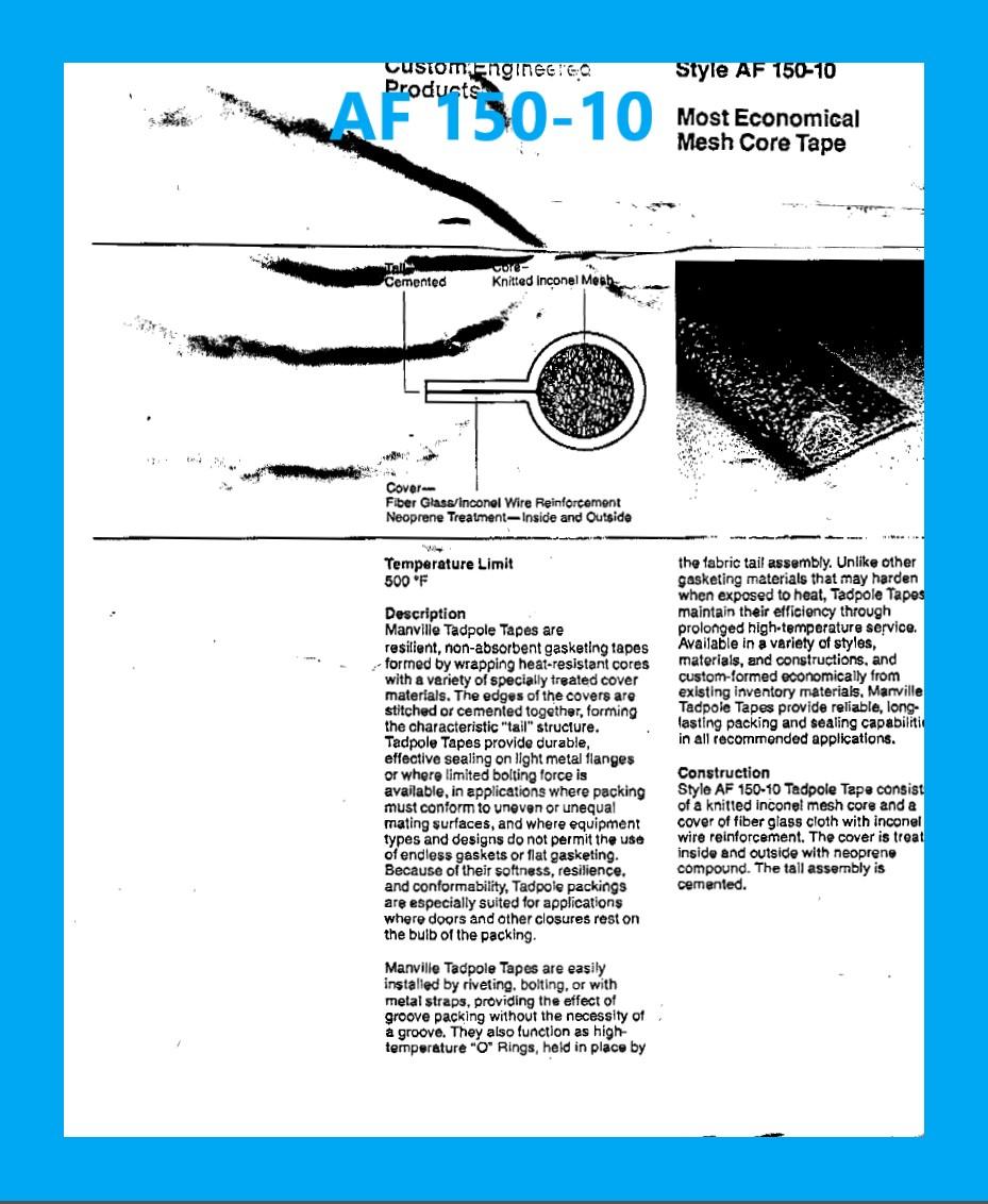 AF 150-10 DATA SHEET