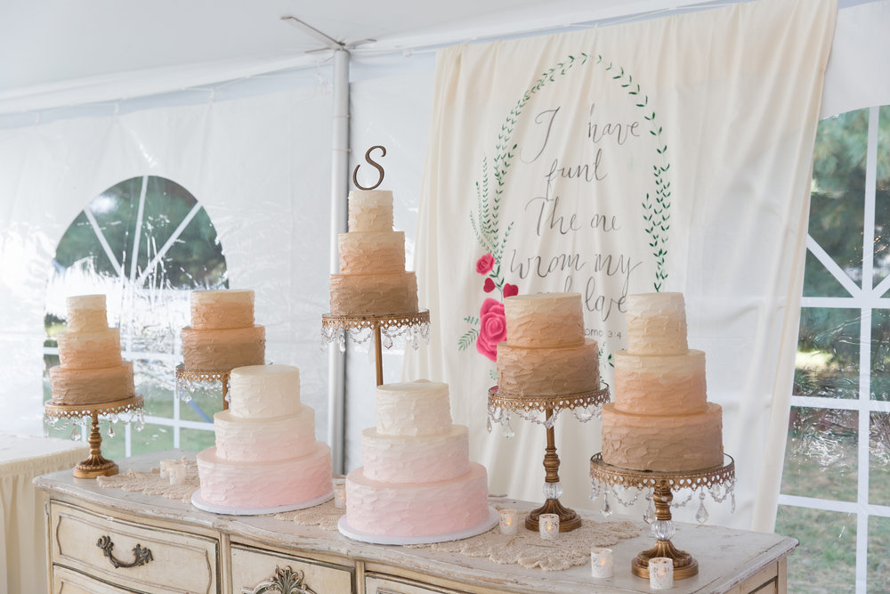 three tiered wedding cakes