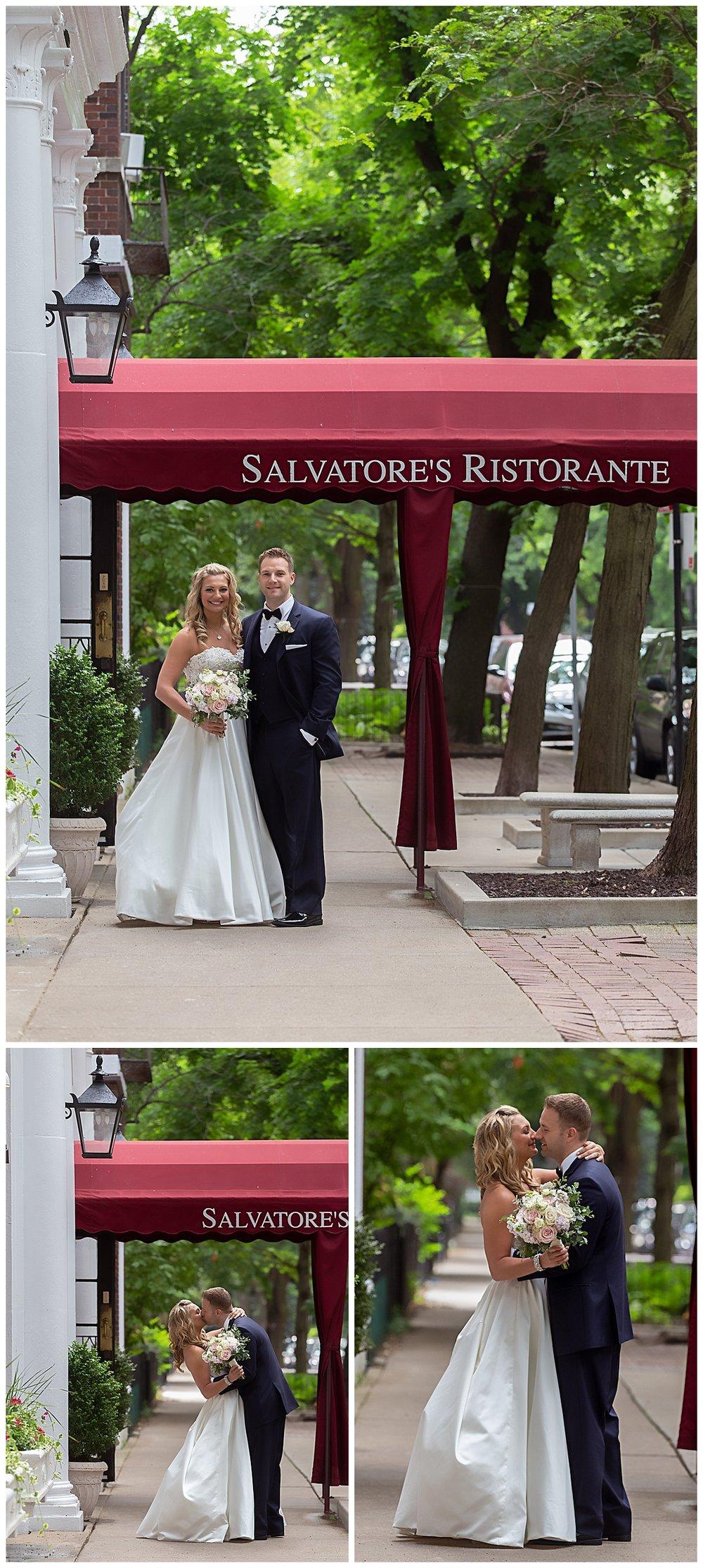 bride and groom outside wedding venue