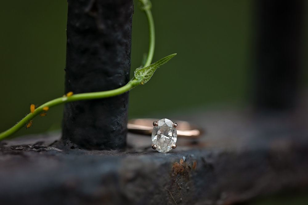 close up of engagement ring on fence