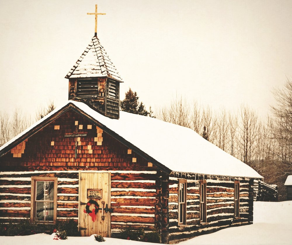 Log Cabin Church in Winter (Idaho)