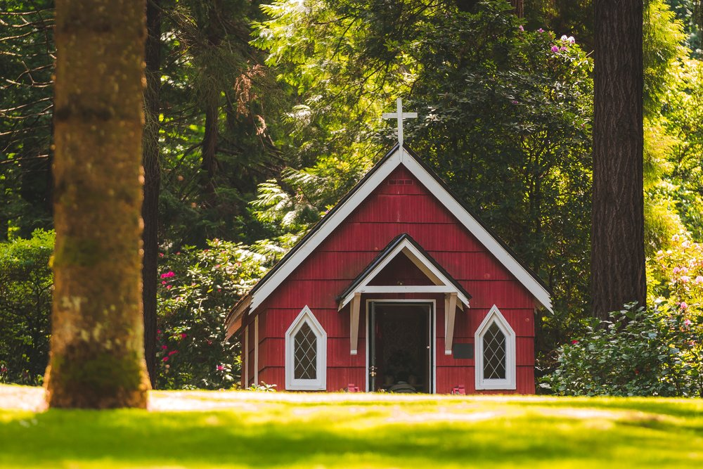 New England Red Chapel in Summer