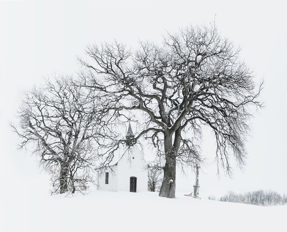 Bleak Winter Scene with Church in Background