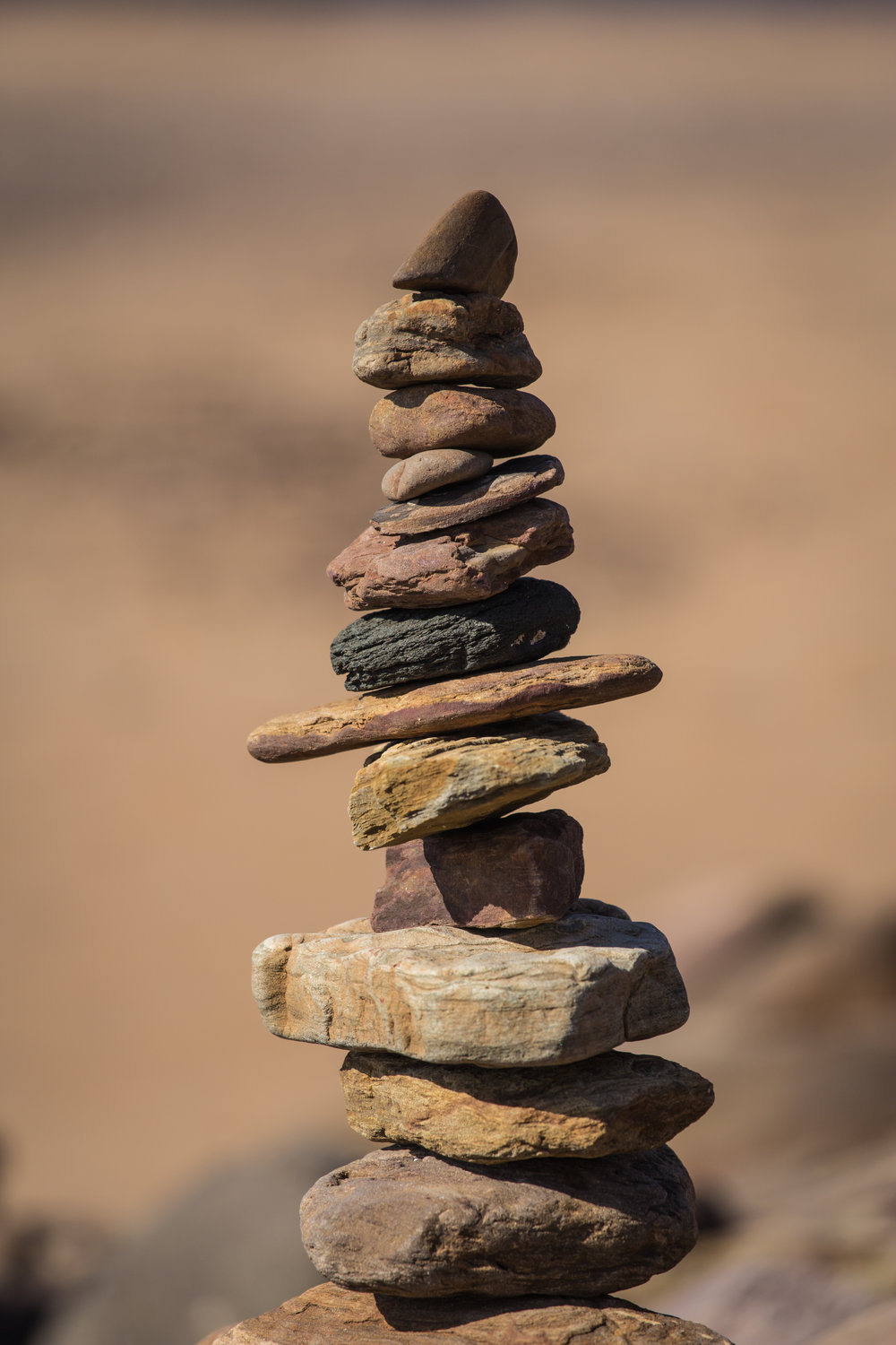 Tower of rocks on beach