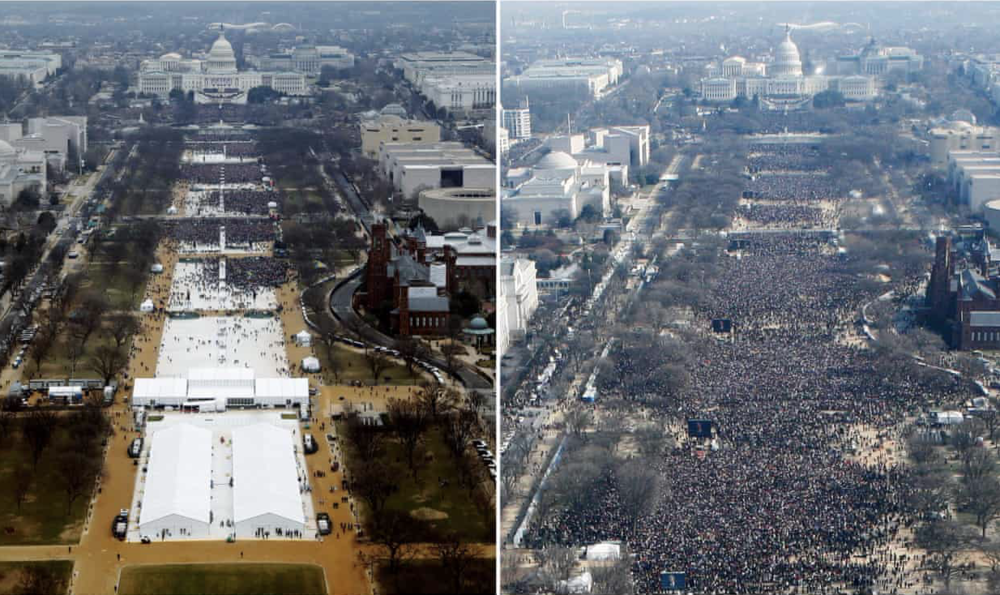 The crowds at the inauguration of Donald Trump (left) and Barack Obama (right).