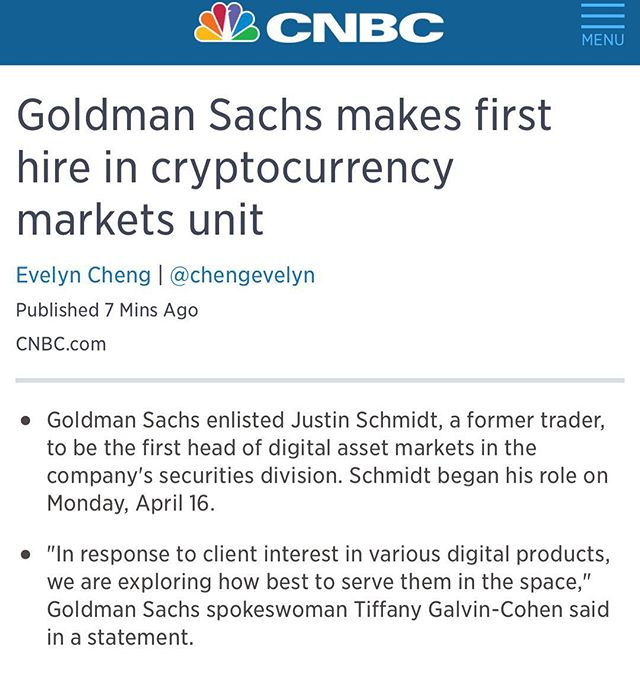 Goldman Sachs hires their first Cryptocurrency trader! 2018 is looking optimistic for crypto as more #bigmoney enters the market! #bitcoin #crypto