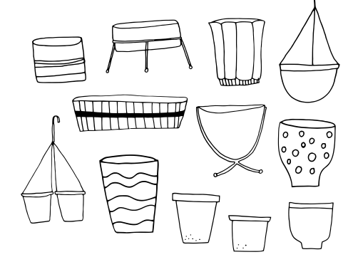 Small pots, illustration