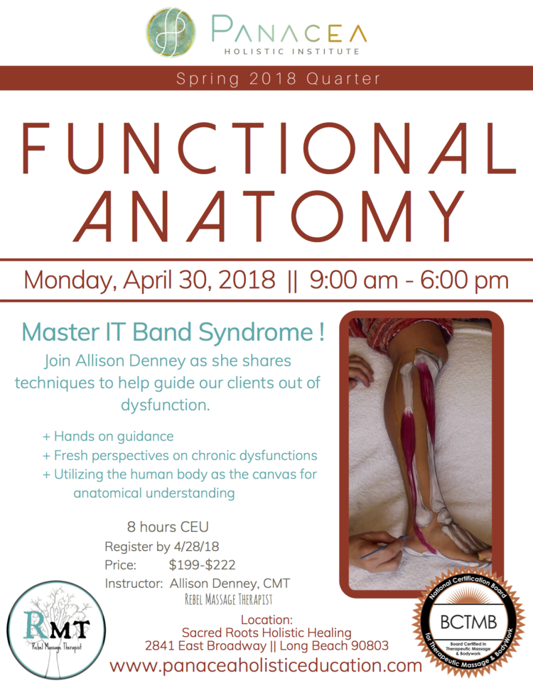 Functional Anatomy with the Rebel Massage Therapist starts soon ...