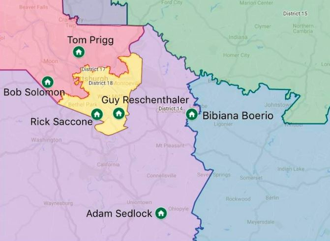 Above is a map of the residence of all of the Congressional Candidates for District 14  Tom Prigg (D), Bob Solomon (D), Guy Reschenthaler (R), and Rick Saccone (R) currently live outside of the district.  Bibiana Boerio (D) currently lives about 1,000 feet from the district's eastern border.   Adam Sedlock (D) is a  life-long  resident of the district in which he hopes to represent.