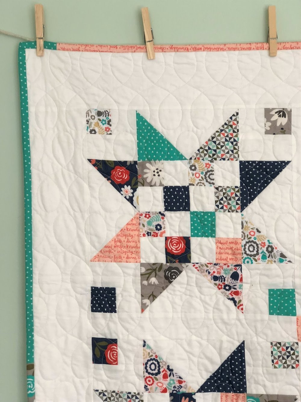Amber over at  Gigi's Thimbles  designed this pattern and made this quilt. It works so well with the collection