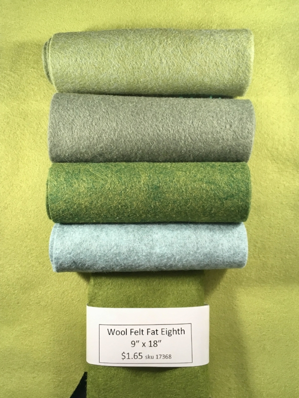 WOOL FELT - The best type of felt for this project is wool felt, not your craft store felt. You can find it at your local quilt shop, or if you do not have a good source locally, there are lots of options online. You won't need a lot - one fat eighth (as shown) will make 5-7 succulents each.  But it is important to get several shades of green/gray/blue for the most life like look.
