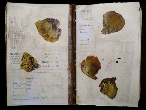 log page - flower petals from the garden on receipts