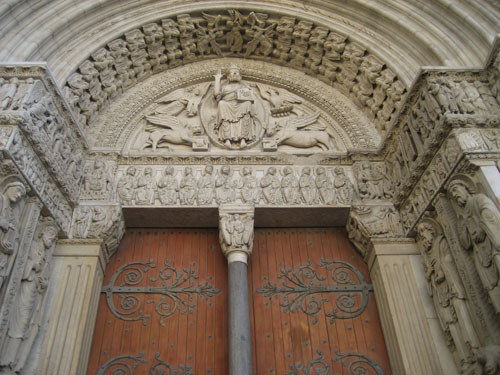 facade of st. trophime's cathedral, arles, france