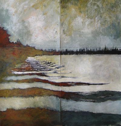 Provence landscape - acrylic, toner on paper