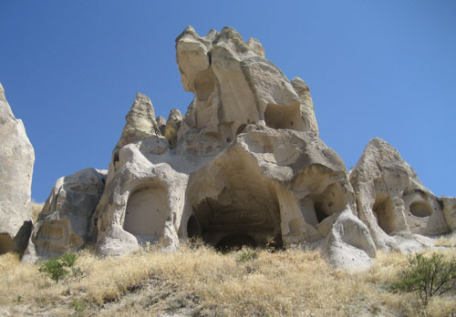 an ancient cave church carved from stone