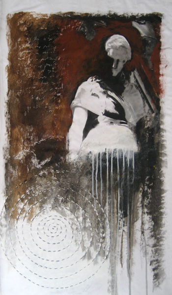 Photo transfer, acrylic on loose canvas.