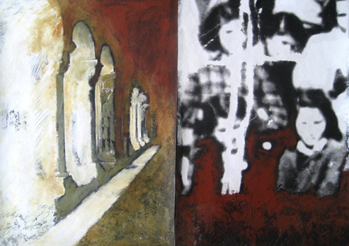 a detail of a triptych again juxtaposing disparate images to create a whole.