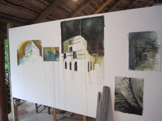 Paintings emerging after visiting the Tulum ruins.