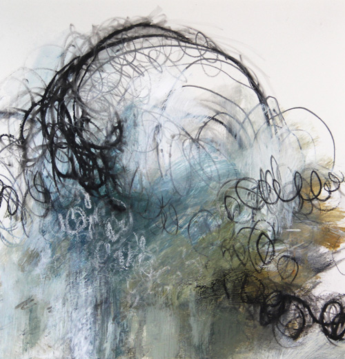 """Acrylic and charcoal on paper - 10"""" x 10"""" 2012 ©Amy Guion Clay"""