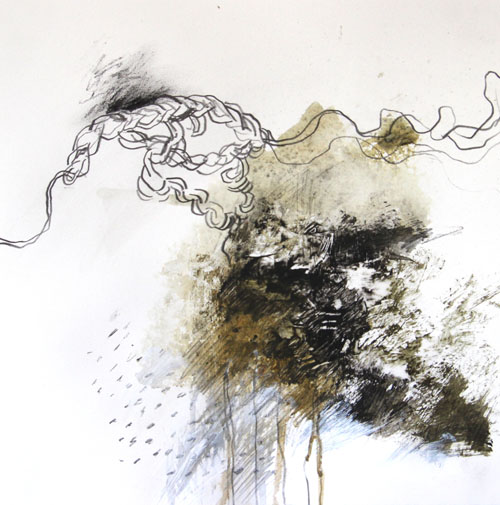 """Acrylic and graphite on paper - 10"""" x 10"""" 2012 ©Amy Guion Clay"""