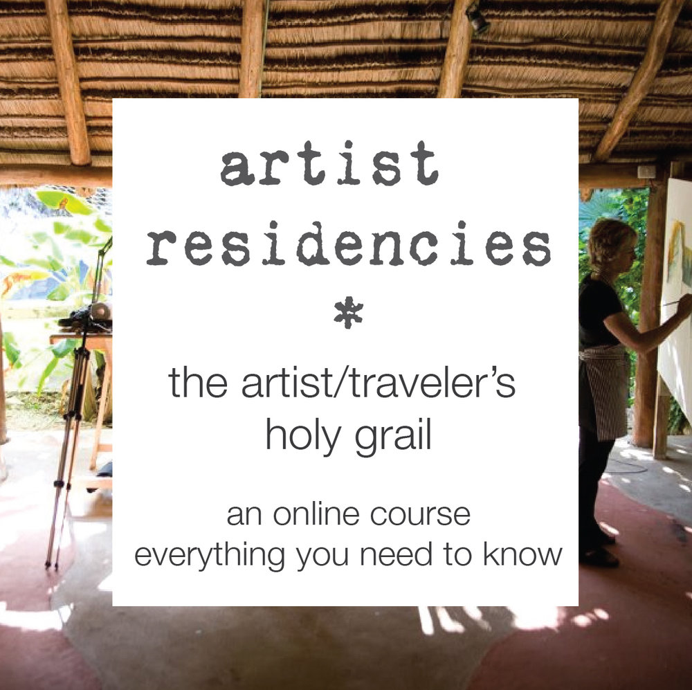 ARTIST RESIDENCIES - EVERYTHING YOU NEED TO KNOW TO RESEARCH, APPLY AND ATTEND ONE ANYWHERE IN THE WORLD!   If you are an artist and love to travel, this is the course for you. I've attended over 20 residencies in 14 countries and counting, in such places as India, Iceland, Turkey, and cities like Berlin and London. I'm so excited to share with you all that I know about this exhilarating world of artist residencies, to save you time and money and help you create a winning application so you can be accepted into the residency of your choice.   CLICK HERE FOR MORE INFORMATION.
