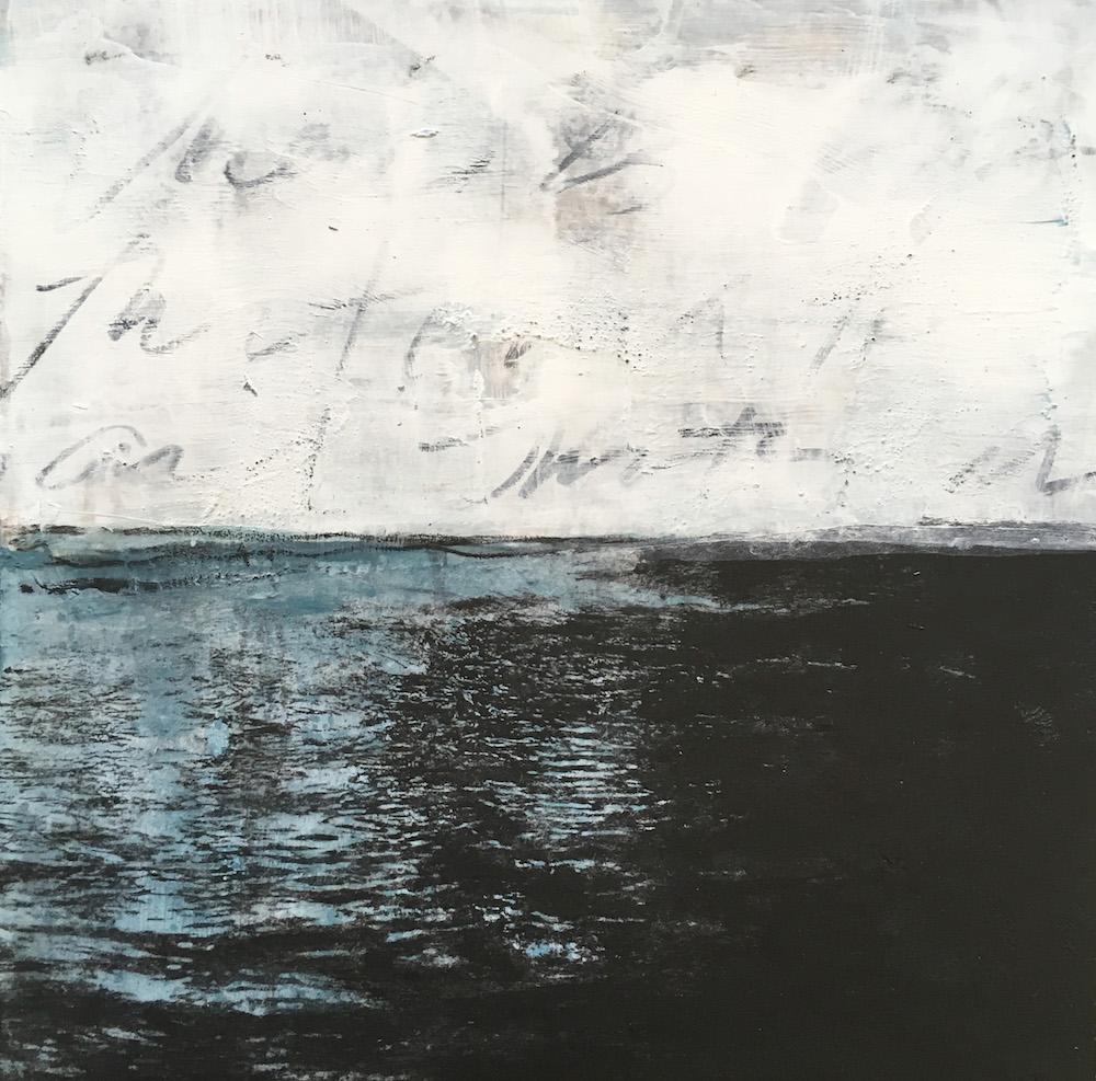 "30 Days of Aqua #14 6"" x 6"" x .75"" Acrylic, toner and chinagraph on panel 2018"