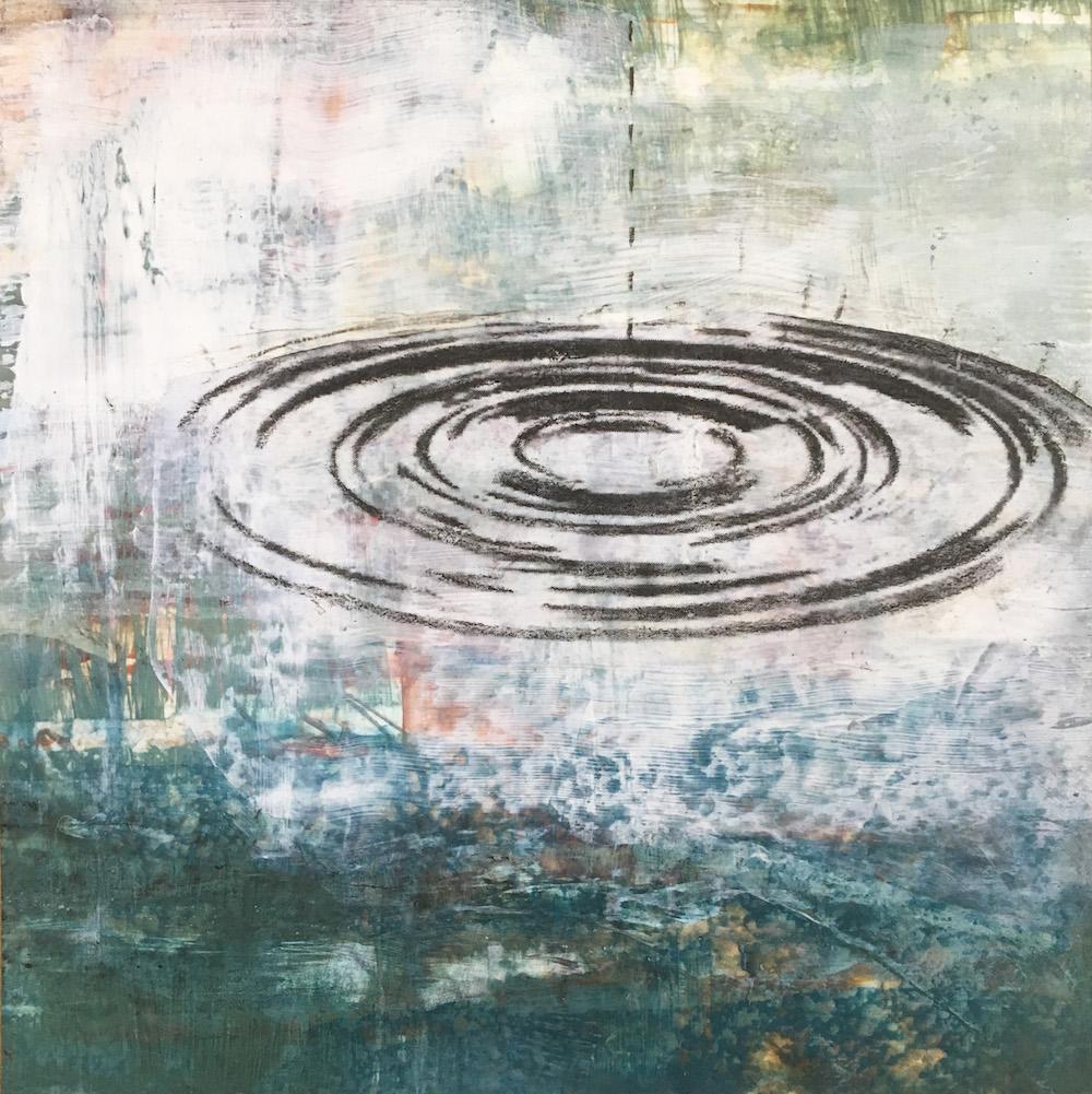 "30 Days of Aqua #7 6"" x 6"" x .75"" Acrylic, chinagraph on panel 2018"