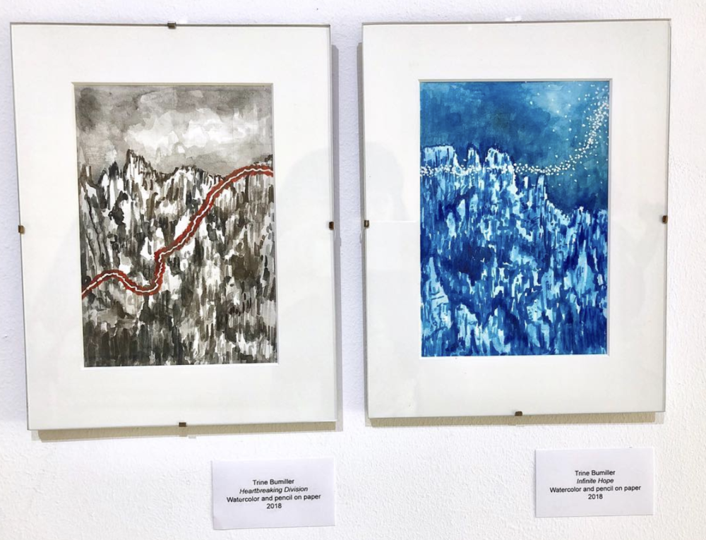 Trine's 2 paintings for the DMZ Museum in Korea show with the Artnauts Collective. June 2018