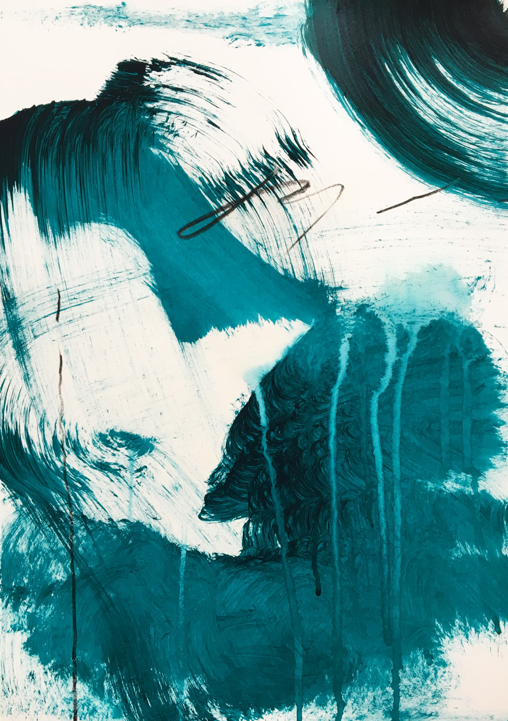 Loose brushstrokes using a wide brush and fluid turquoise acrylic paint.