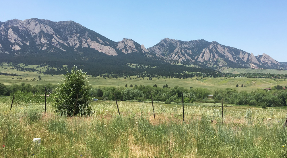 Fabulous views from the studio overlooking the Boulder Flatirons mountains.