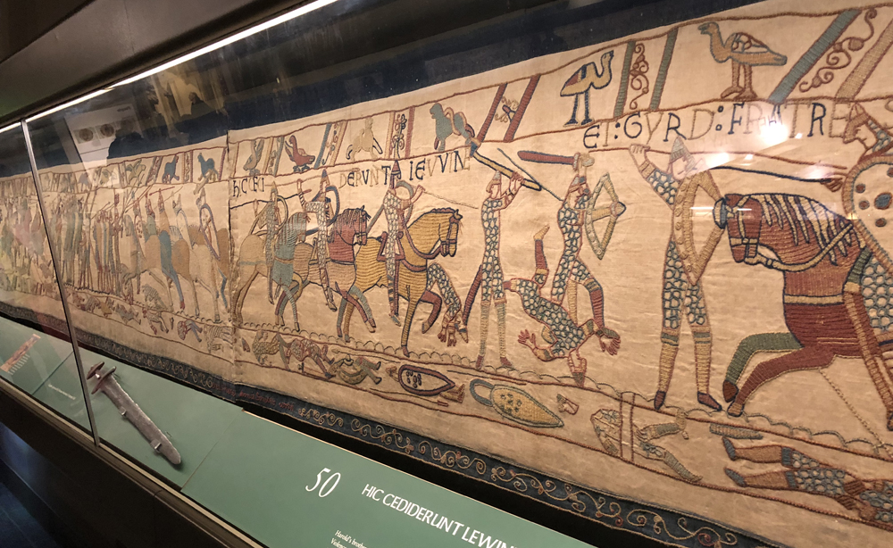 The exact replica of the Bayeux Tapestry in the Reading Museum, England.