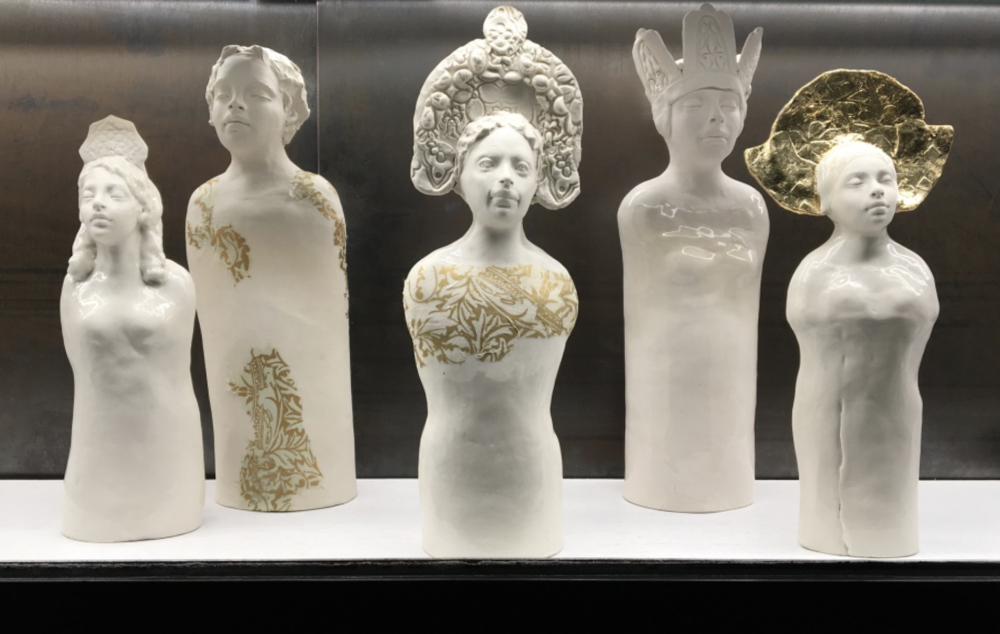 A group of Caroline's porcelain sculptures.